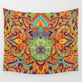 Colorful  Hamsa Hand -  Hand of Fatima Wall Tapestry