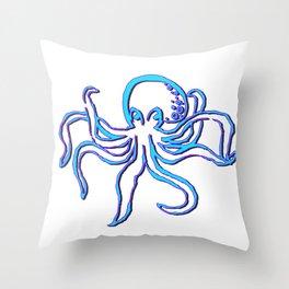 Neon Octopus Throw Pillow