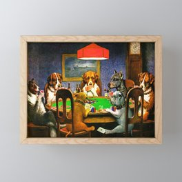 Dogs Playing Poker, by Cassius Marcellus Coolidge - Vintage Painting Framed Mini Art Print