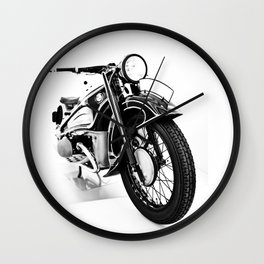Vintage classic bike, motorcycle art, white background Wall Clock
