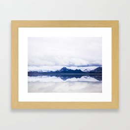 Navy blue Mountains Against Lake With Clouds Framed Art Print