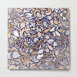 Gold Navy White Floral Leaf Illustration Pattern Metal Print