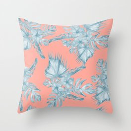 Dreaming of Hawaii Pale Teal Blue on Coral Pink Throw Pillow
