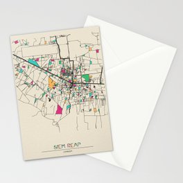 Colorful City Maps: Siem Reap, Cambodia Stationery Cards