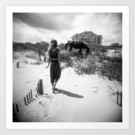 The Girl with the Wild Horses - Corolla, NC - Black and White Film Photograph Art Print