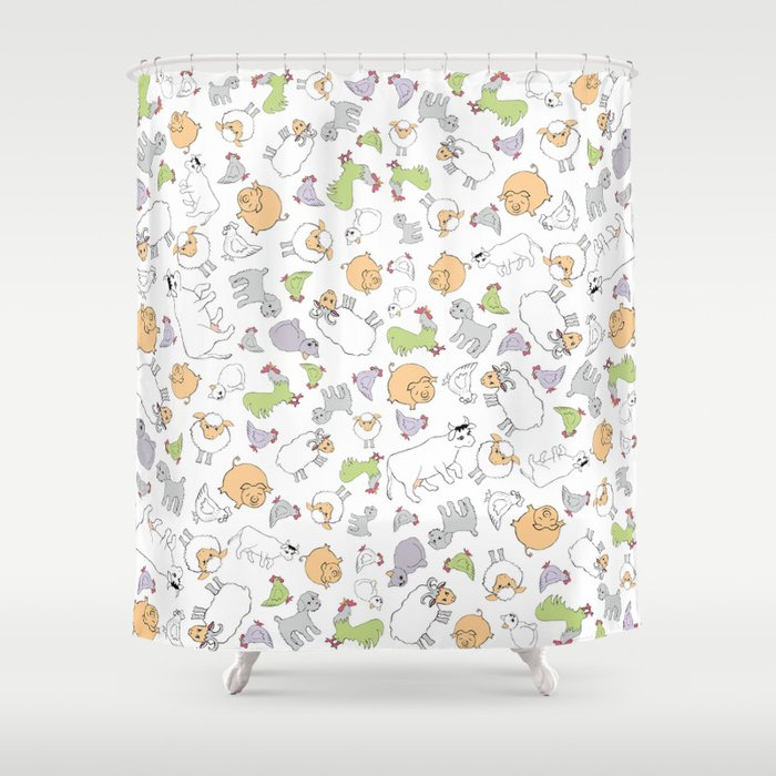 The Little Farm Animals Shower Curtain By Evalundberg
