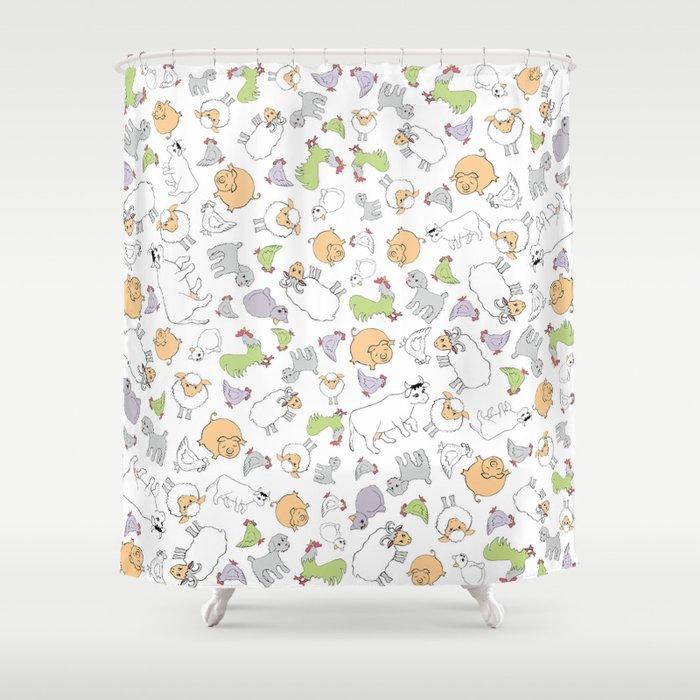 The Little Farm Animals Shower Curtain