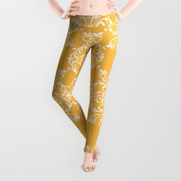 Yellow Retro Damask Leggings