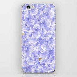 Elegant lavender white faux gold watercolor hydrangea flowers iPhone Skin