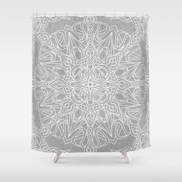 White Mandala on Grey Linen Shower Curtain