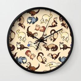 Ferrets in cream Wall Clock