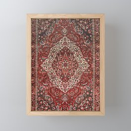 Persian Bakhtiari Old Century Authentic Colorful Deep Dark Red Tan Vintage Patterns Framed Mini Art Print
