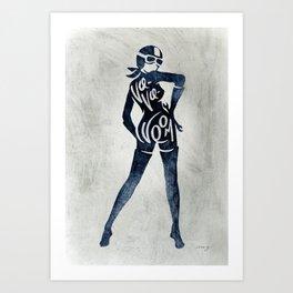 "Va-Va-Voom ""Jane"" Motorcycle Pin Up Girl Art Print"