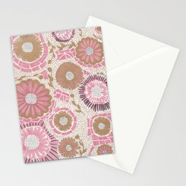 Pink & Gold Flowers Stationery Cards