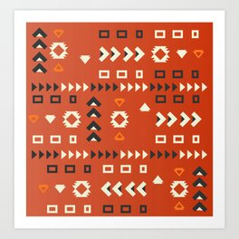 American native shapes in red Art Print