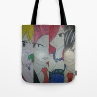 fairy tail Tote Bags featuring Fancy Fairy Tail Arrangement One by X21DaysOfMoonX