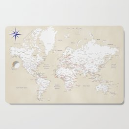 """Cream, white, red and navy blue world map, """"Deuce"""" Cutting Board"""
