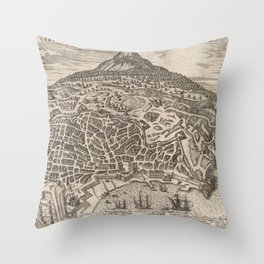 Vintage Map of Catania Italy (1597) Throw Pillow