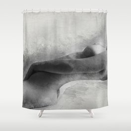Time for Myself. Nude woman pencil and watercolor portrait Shower Curtain