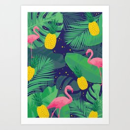 Flamingoes in the Starlight Art Print