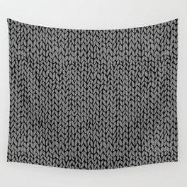 Hand Knit Dark Grey Wall Tapestry
