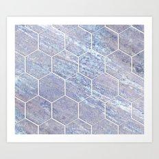 Botanico Porpora - purple marble hexagons Art Print
