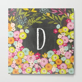 D botanical monogram. Letter initial with colorful flowers on a chalkboard background Metal Print