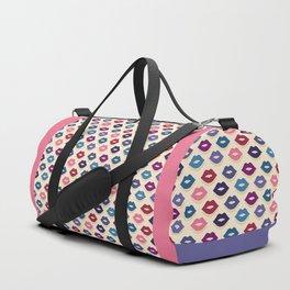 Retro Lips Pattern Duffle Bag