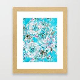 BEACH BABE Aqua Watercolor Floral Framed Art Print