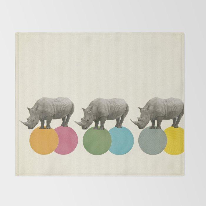 Rambling Rhinos Throw Blanket