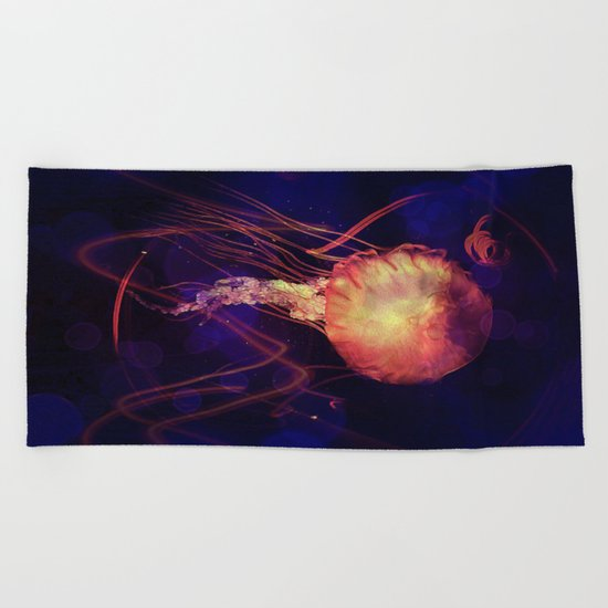 Jellyfish of the Blacklight Electro Rave Beach Towel