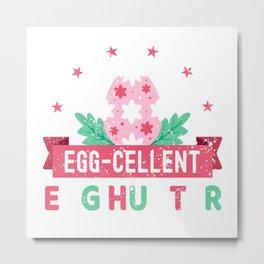 Egg-Cellent Egg Hunter Easter Bunny Ears Costume for Kids Metal Print