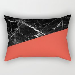Black Marble with Cherry Tomato Color Rectangular Pillow
