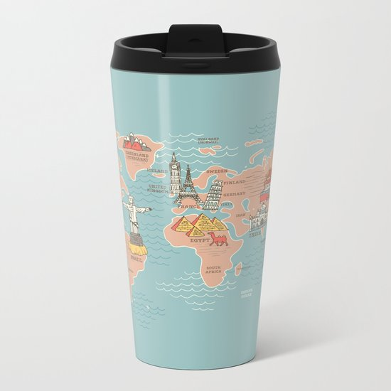 World Map Cartoon Style Metal Travel Mug