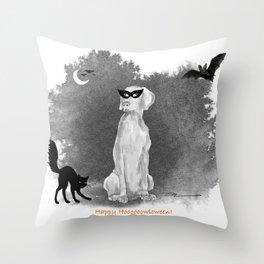 HOOOOOOWLOWEEN WEIMARANER Throw Pillow