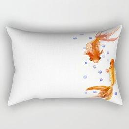 Goldfish, two fish, Koi Asian Style watercolor art, feng shui Rectangular Pillow