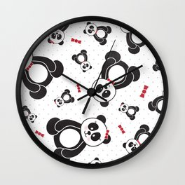 Panda Freefall (Black, White, Red) Wall Clock