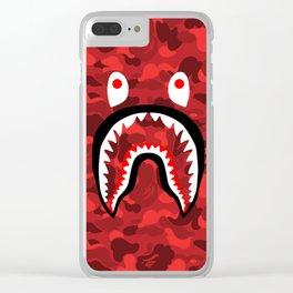 BAPE SHARK RED CAMO Clear iPhone Case
