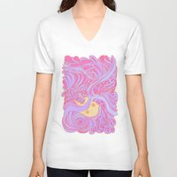 anxiety V-neck T-shirts featuring Anxiety by Shea Noelle
