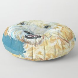 Stanley the Goldendoodle Dog Portrait Floor Pillow