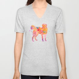 Akbash Dog Watercolor Orange Pink Abstract Unisex V-Neck