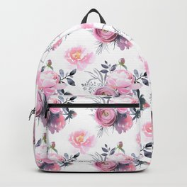 Blush pink yellow gray watercolor roses floral Backpack