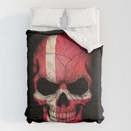 Dark Skull with Flag of Denmark Comforters