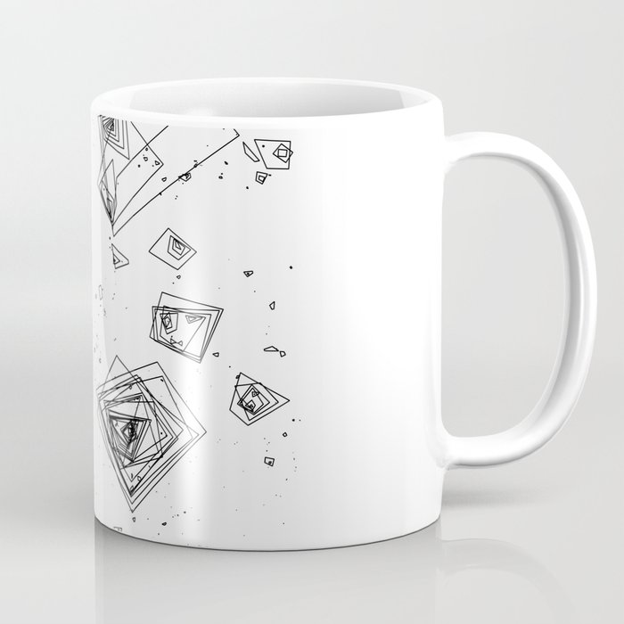 Mountain Vertices, Mt. Shasta, Black Geometric Coffee Mug