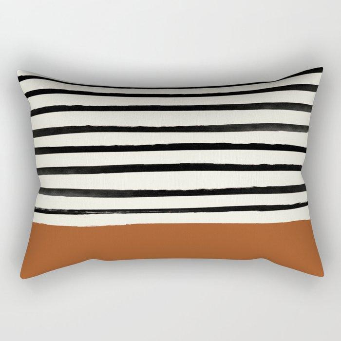 Burnt Orange x Stripes Rectangular Pillow