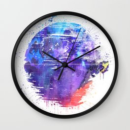Death Star Watercolor Wall Clock