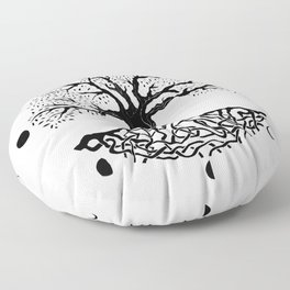 black and white tree of life with moon phases and celtic trinity knot II Floor Pillow