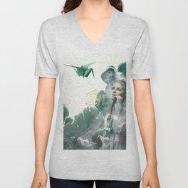 Emerald Paper Cranes Unisex V-Neck