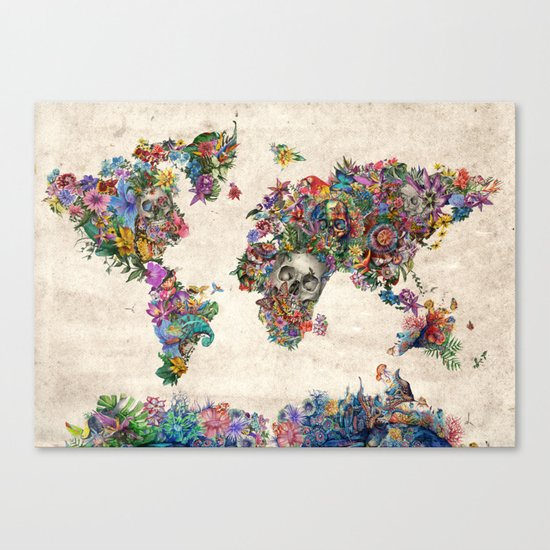 floral skull world map 2 Canvas Print