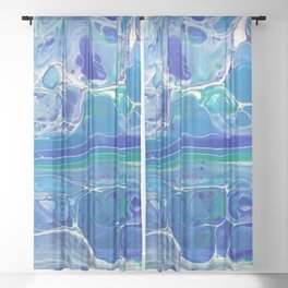 Swipe. A blue and White Abstract Sheer Curtain